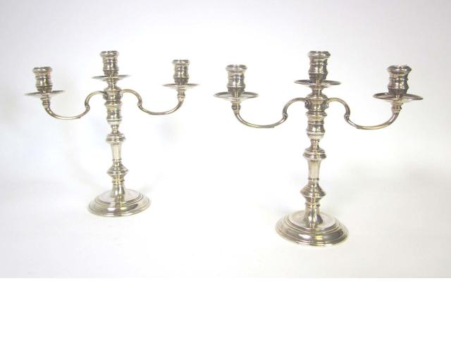 A pair of silver three-light candelabra by R Comyns, London 1967 / 68  (2)