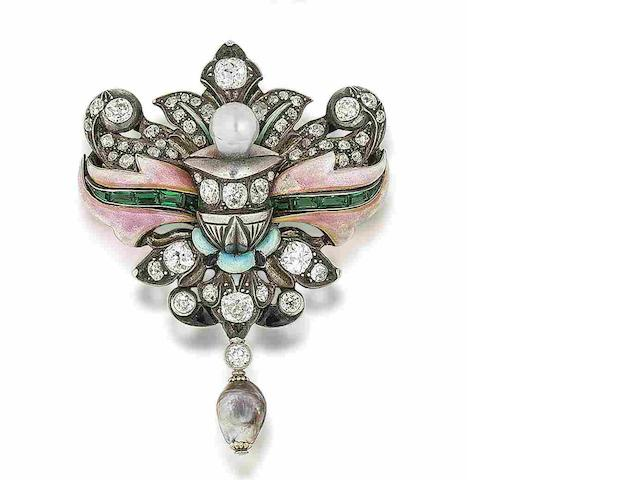 A 19th century enamel, natural pearl and diamond brooch