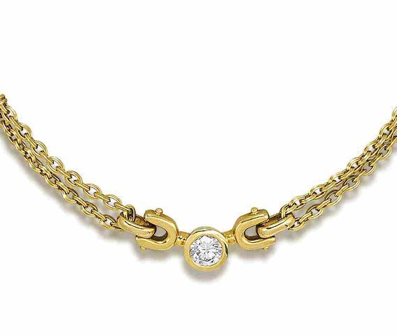 A diamond single-stone pendant/necklace