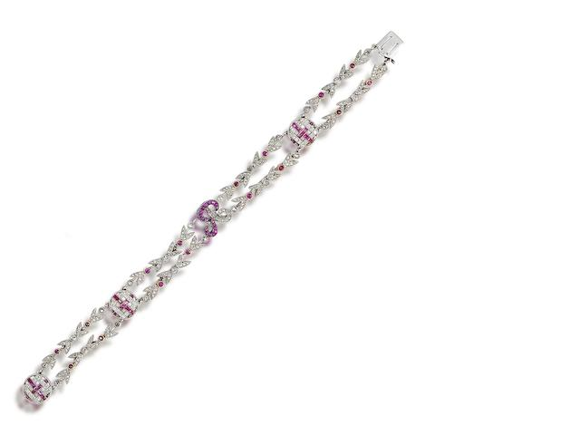 A belle époque ruby and diamond bracelet,