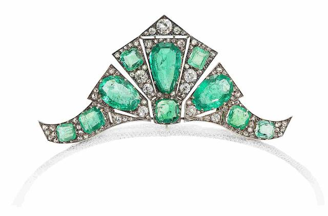 An art deco emerald and diamond tiara/brooch/double-clip combination,