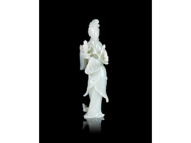 A jade figure of a standing lady 20th century