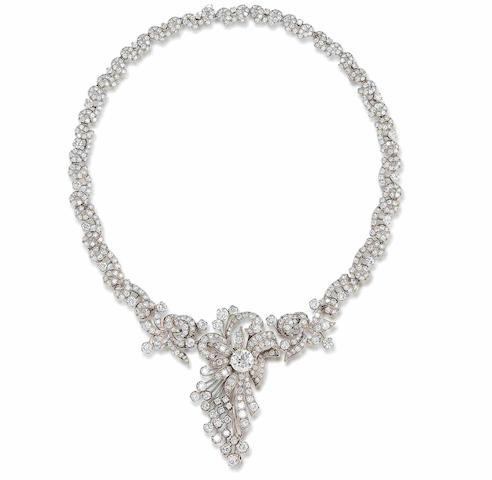 A diamond necklace/brooch,