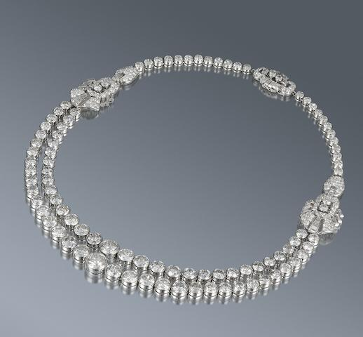A diamond double rivière necklace,