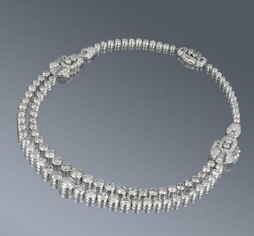 A diamond double rivière necklace,