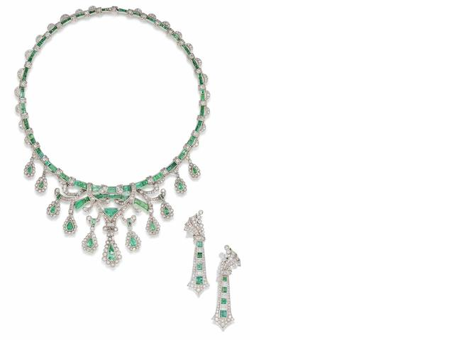 An emerald and diamond necklace and earring suite,