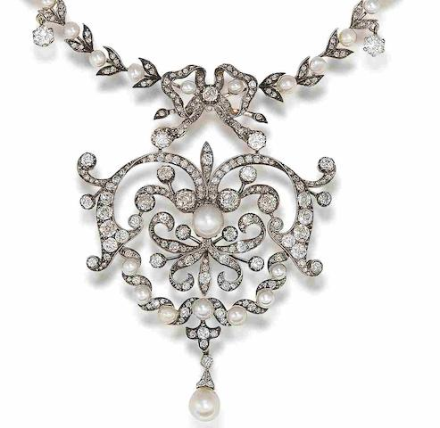 A late 19th century pearl and diamond necklace
