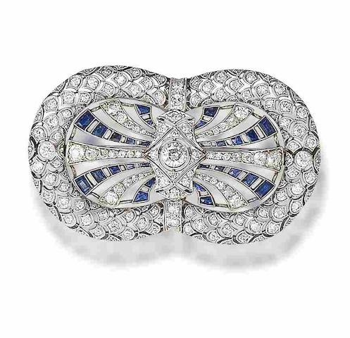 An sapphire and diamond brooch,