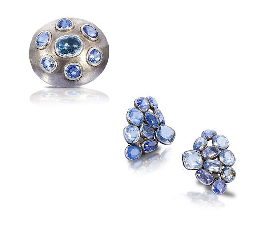 A sapphire earclip, brooch and ring suite,