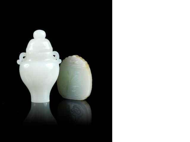Small jade vase and cover and jade plaque
