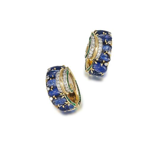 A pair of sapphire, emerald and diamond earclips,