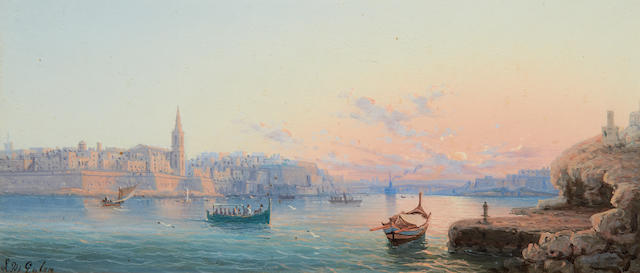 Luigi Maria Galea (Maltese, 1847-1917) The Grand Harbour, Valetta, at dusk