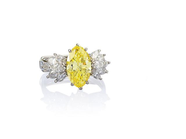 A fancy-coloured diamond and diamond ring,