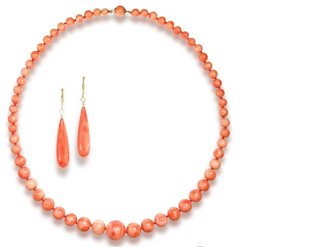 A 19th century coral necklace, earrings and brooch suite (3)