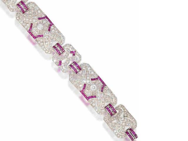 An art deco diamond and ruby bracelet,