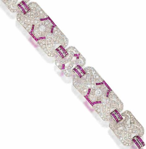 An art deco diamond and ruby bracelet,