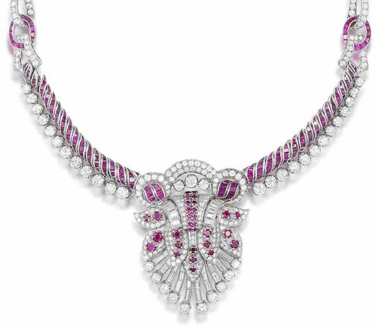 A ruby and diamond necklace,