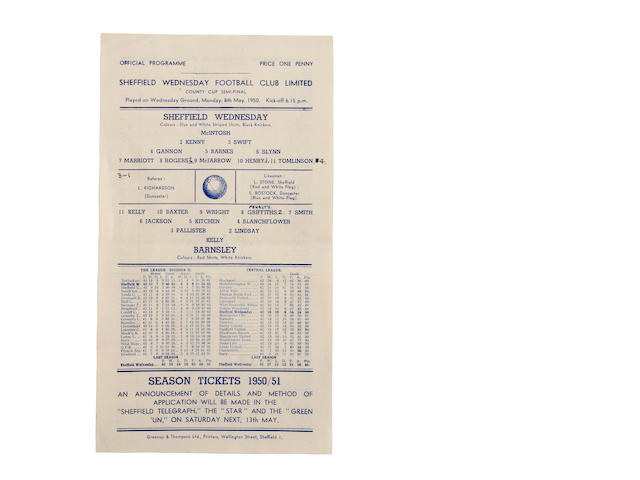 1950/51 County Cup Sheffield Wednesday v Barnsley football programme