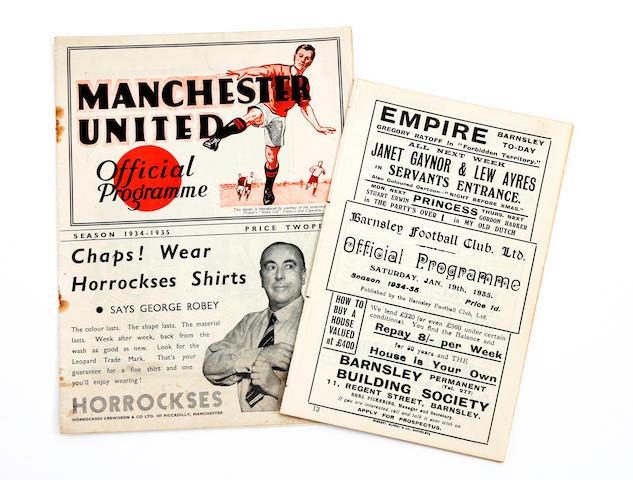 1934/35 Barnsley v Manchester United home and away football programmes