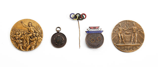 1928 Olympic medals/badges awarded to Margaret Hartley