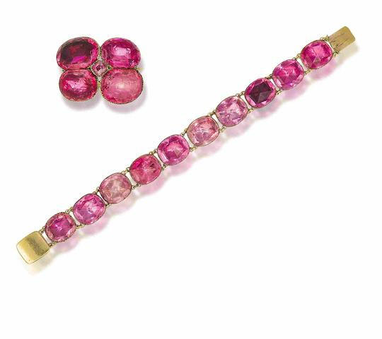 An 18th century foiled pink paste bracelet and brooch (2)