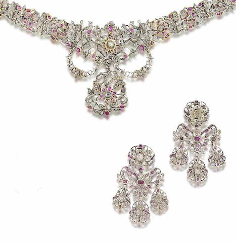 A ruby and diamond necklace and earring suite, (2)