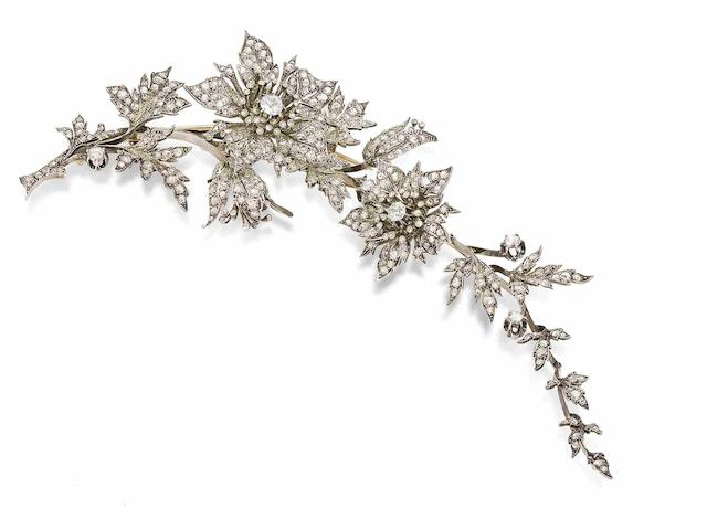 A mid 19th century diamond corsage ornament