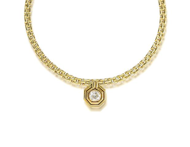 A diamond single-stone necklace