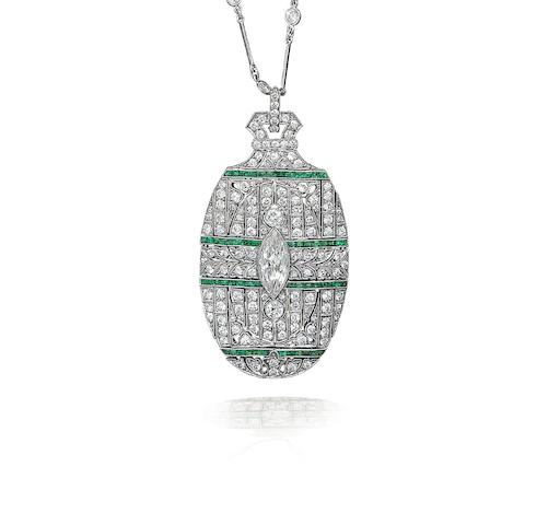 An emerald and diamond pendant/necklace,