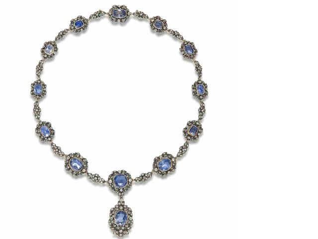 A sapphire and diamond necklace,