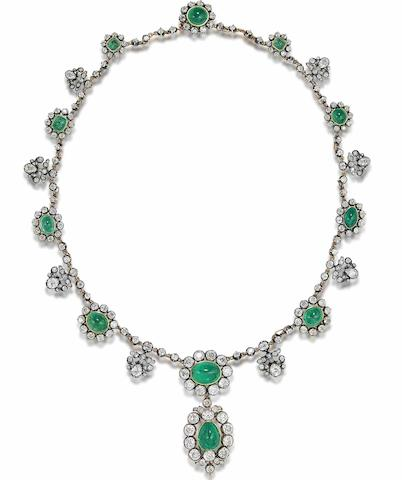 A late 19th century cabochon emerald and diamond necklace