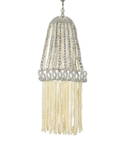 A belle époque seed pearl and diamond tassel pendant,