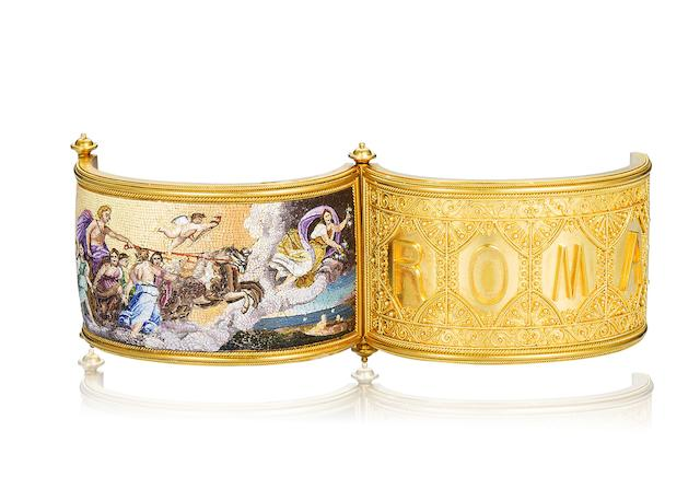 A gold and micromosaic hinged bangle,