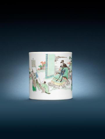 A famille verte cylindrical brushpot, bitong Kangxi