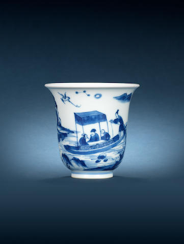 A tall blue and white 'Red Cliff' cup Yongzheng four-character mark, 18th century