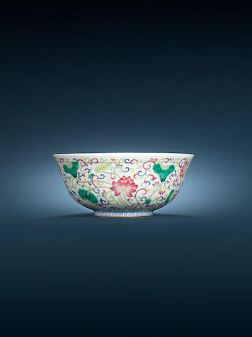A famille rose 'lotus' bowl Xuantong six-character mark and of the period
