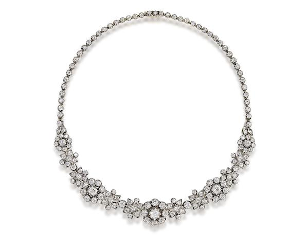 A late 19th century diamond cluster necklace