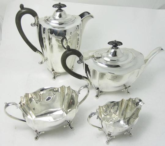 A four piece silver tea service with maker's mark of GG&S, Sheffield 1905