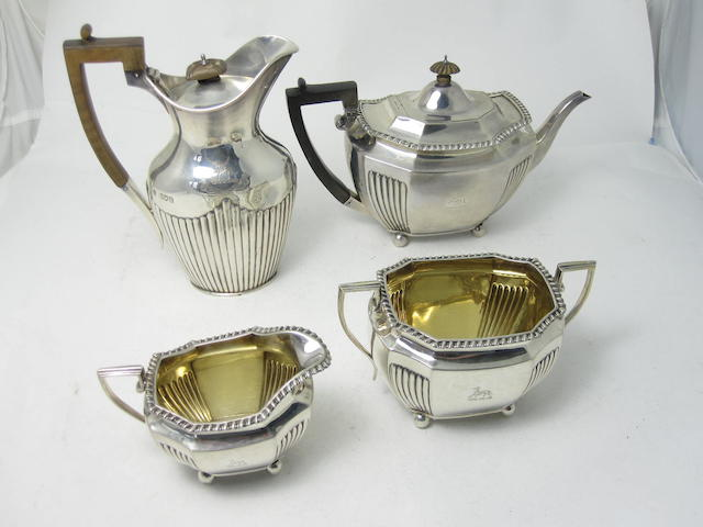 A matched late Victorian four piece silver tea service all by Barnard Bros., the teapot, cream jug and sugar bowl London 1899, the coffee pot 1897  (4)