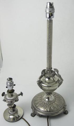 A Victorian silver table lamp London 1872  (2)
