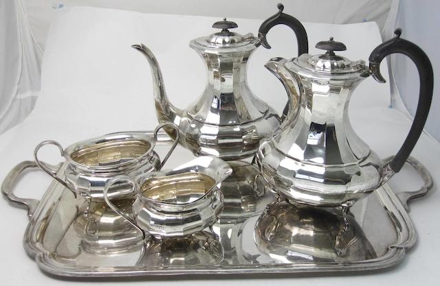 A four piece silver tea service and tray ensuite by E.Viner, Sheffield 1956