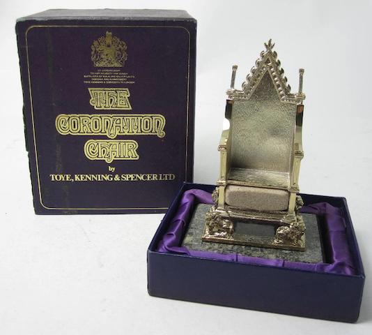 A limited Edition silver model of The Coronation chair by Toye, Kenning & Spencer, Birmingham 1978