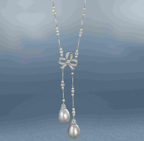 A natural pearl and diamond lavallière,