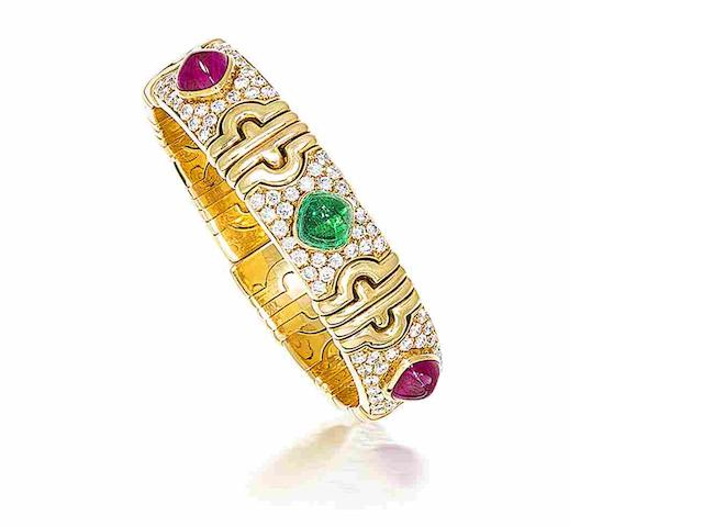A ruby, emerald and diamond 'Parentesi' bangle, by Bulgari