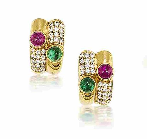 A pair of ruby, emerald and diamond earrings, by Bulgari
