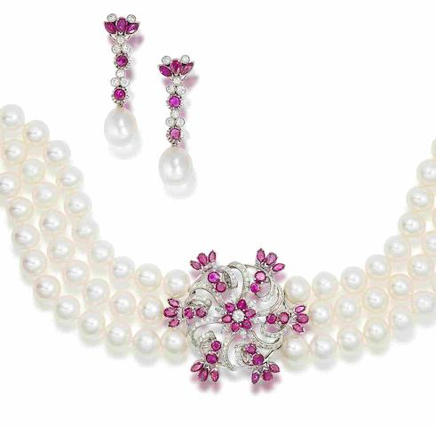 A cultured pearl, ruby and diamond choker and earring suite