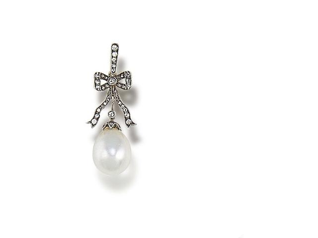 A belle époque natural pearl and diamond pendant,