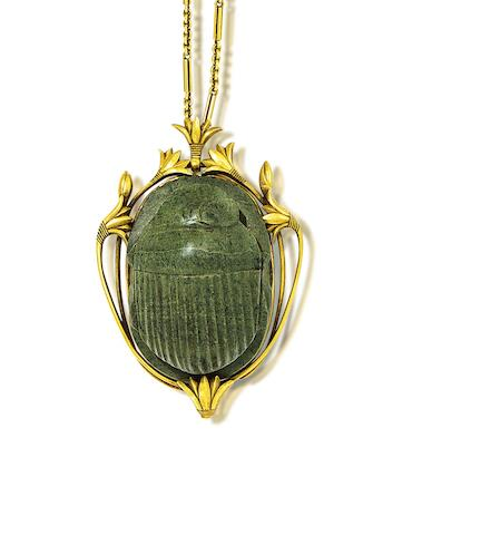 An Egyptian revival gold and steatite scarab necklace,