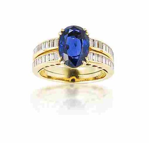 A sapphire and diamond ring,  by Chaumet