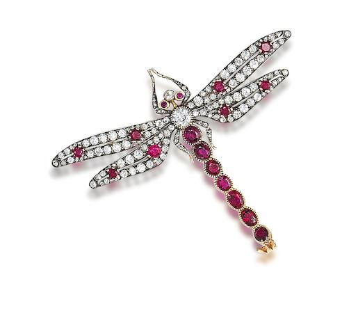 A ruby and diamond dragonfly brooch